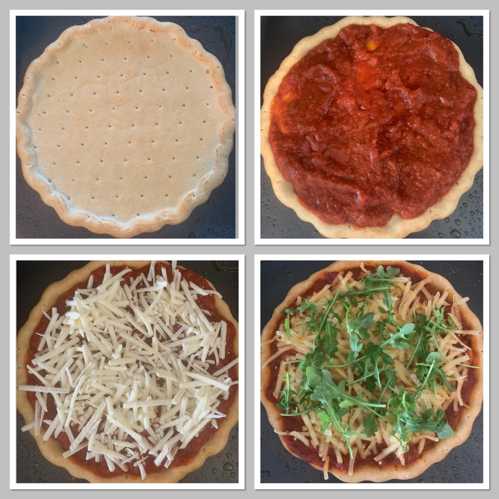 The various stages of making the pizza - from bare crust to finished pizza with toppings