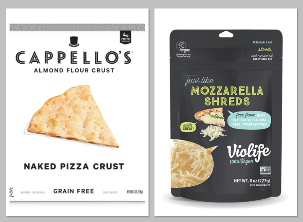 Capello's Naked Pizza Crust and Violife's  Just Like Mozarella Shreds