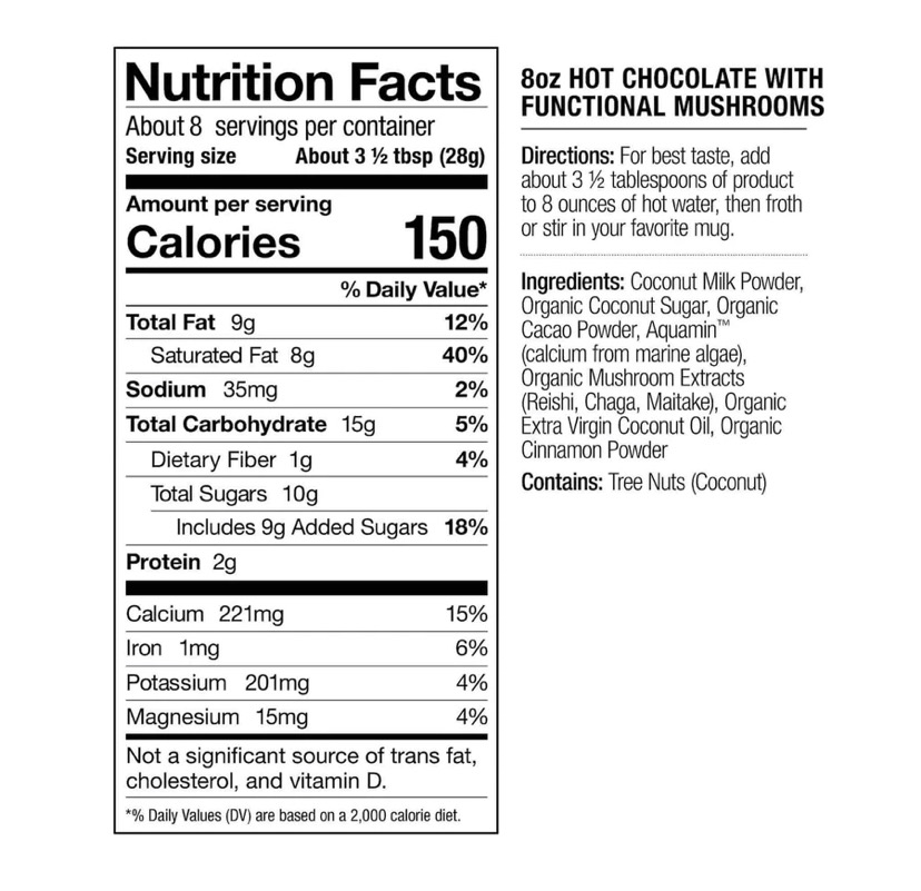 The ingredients and nutritional profile of Laird Superfood Hot Chocolate