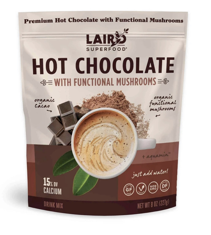 A photo of Laird Superfood Hot Chocolate packaging