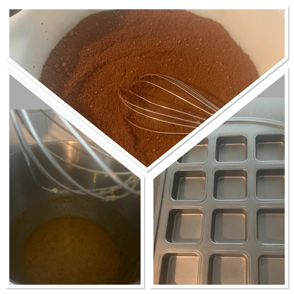 The dry ingredients, wet ingredients, and brownie pan