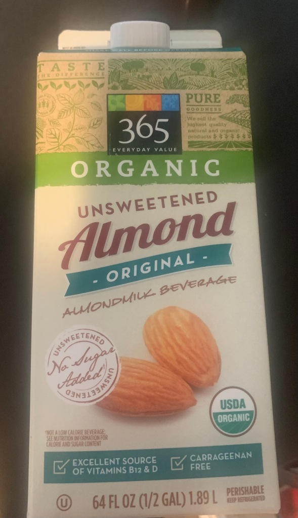 Whole Foods Unsweetened Organic Almond Milk Package